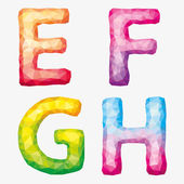 Vector colorful abstract alphabet Letters E F G H