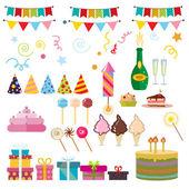 Všechno nejlepší k narozeninám stran symboly vektorové