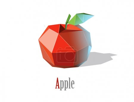 Vector illustration of polygonal red apple with le...