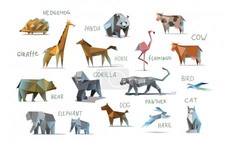 Illustration for Vector set of different animals, polygonal icons, low poly illustration, cow, bear, dog, cat, elephant, giraffe, panther, flamingo, bird, hedgehog, gorilla, rabbit, horse, modern style, panda, isolated on white background - Royalty Free Image