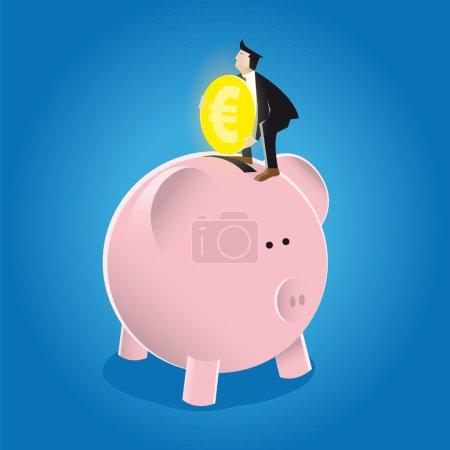 Illustration pour Homme d'affaires met de l'argent dans la tirelire avec un grand effort pour les gains futurs et la croissance illustration vectorielle, fond bleu.Formes, lumières, ombres et arrière-plan sont à différents niveaux . - image libre de droit