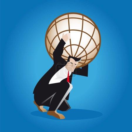Illustration pour Un homme d'affaires porte sur son dos le poids de l'ensemble du monde des affaires comme le titan Atlas dans la mythologie grecque. le globe brun est une métaphore de l'économie et de la finance mondiales . - image libre de droit