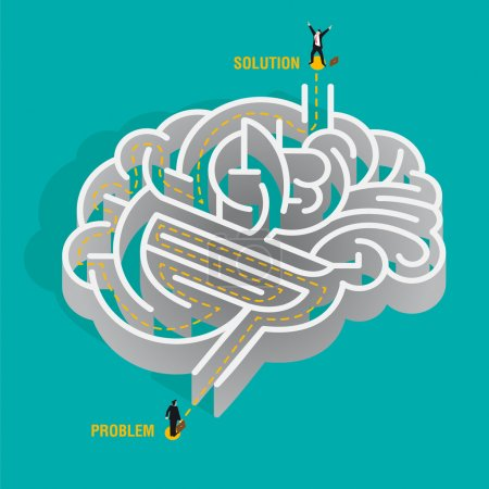 Illustration for Nice idea of a human brain depicted as a maze. a businessman must overcome the problems by reasoning and thinking without getting lost. vector illustration. For files, pdf, eps, and jpg. - Royalty Free Image