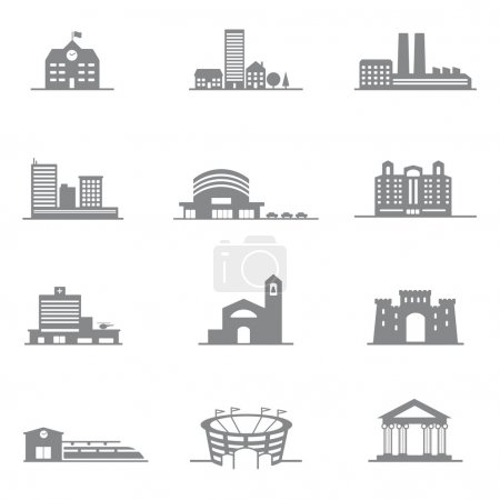 complete set of vector icons city buildings. All the buildings of the city 's most important.