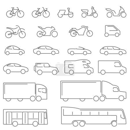 Illustration pour Voitures, berline, break, VUS, Coupé, utilitaire, voiture électrique, jeep, moto de course, moto hors route, vélos sur mesure, vélo pour hommes, cyclisme féminin, scooters, camions, camions de transport, bus, bus. icône de conception de ligne vectorielle . - image libre de droit