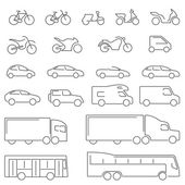 Flat Line icons - Transportation Vehicles Icons Complete set of icons flat line on a white background with all means of road transport