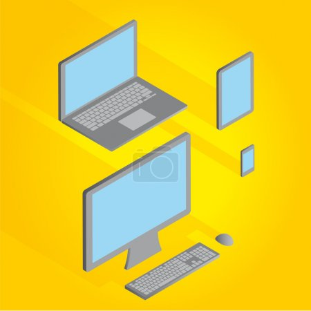 Vector Computer monitor, keyboard, Digital Tablet, Smart Phone and laptop. Vector illustration of a set of electronic devices with a modern design and three-dimensional .