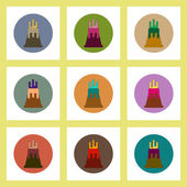 flat icons set of volcano explosion and magma concept on colorful circles