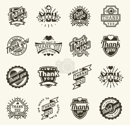 Illustration for Vintage label Thank You text vector badge. Thank you text design label card lettering type banner symbol. Letter typography thank you badge logo decorative calligraphic message text - Royalty Free Image
