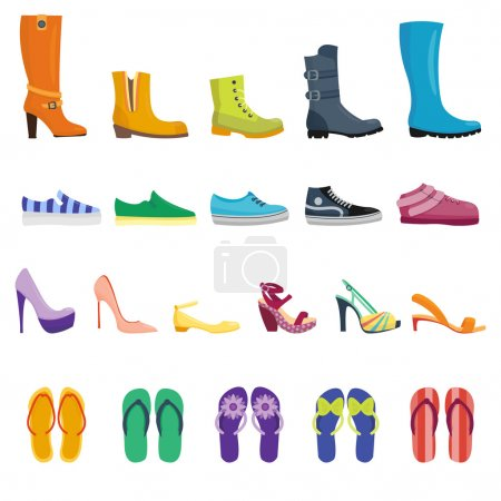 Different shoes isolated collection