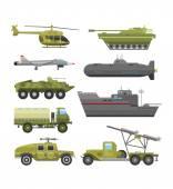 Military technic transport armor flat vector illustration