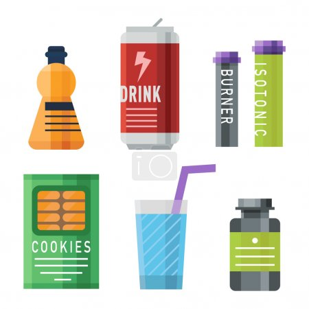 Sports food nutrition icons