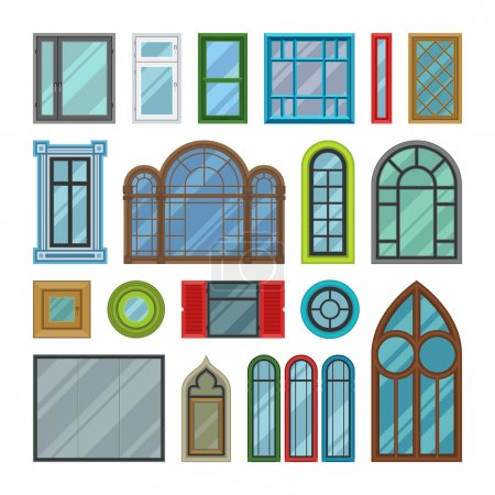 Different house windows vector elements