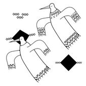 Decorative black and white bird with graphic elements Vector illustration can be used for textile and backgrounds prints icons tattoo and etching samples and as decorative elements for your creative designs