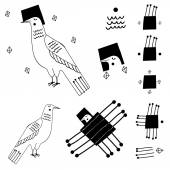 Set of minimalist black birds with decorative elements White background Ethnic style Vector illustration Can be used for textile and backgrounds prints icons tattoo and etching samples and other creative designs