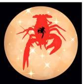 crawfish label shiny background crawfish silhouette crayfish icon lobster sign crawfish symbol Vector illustration