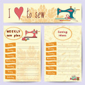 Vector illustration sewing ideas plan for the week and tailor banner