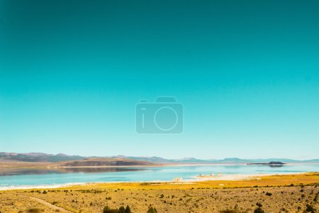 Lake and Mountains in a Desert near California and Nevada