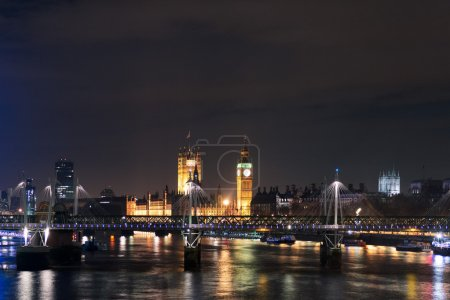 London's Eye and Big Ben at night, England