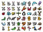 48 vector hand drawn animals black line and colors