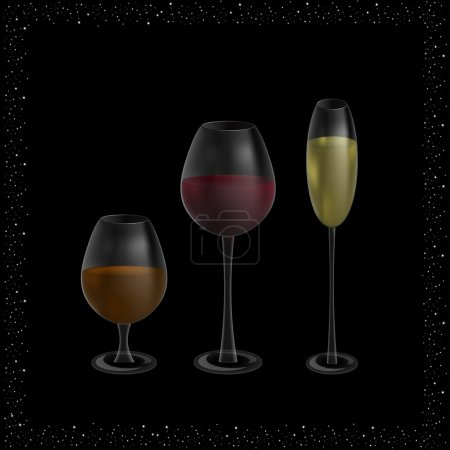 glasses with champagne, wine and whiskey