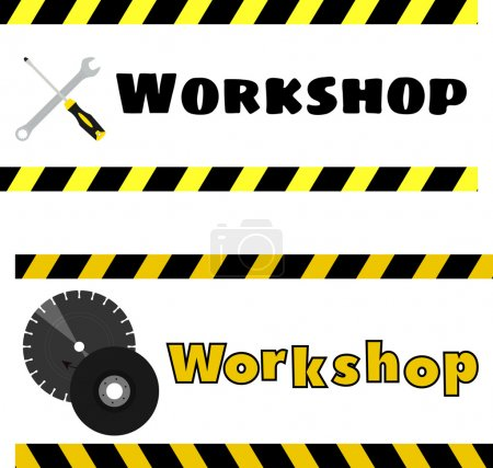 workshop logo with the image of a screwdriver, wrench and grinding discs