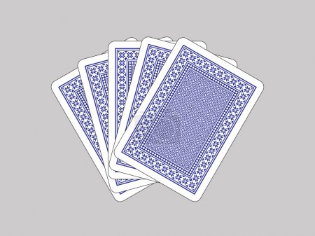 Five closed playing cards on grey background