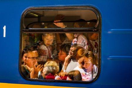 The grand opening of a local children's railway in Uzhgorod
