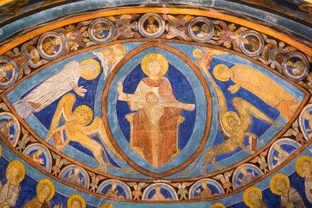 Majestas Domini in bright ultramarine color. Fresc...