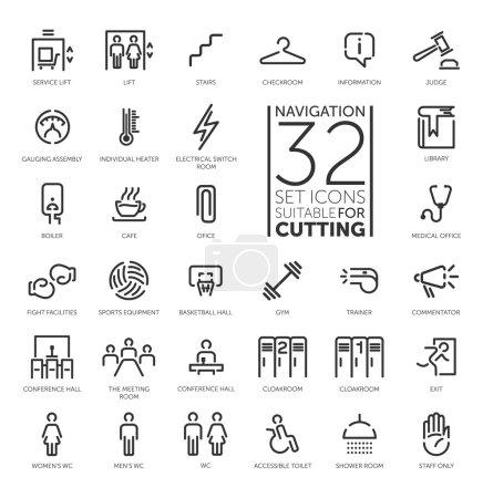 Navigation signs 32 set vector icon