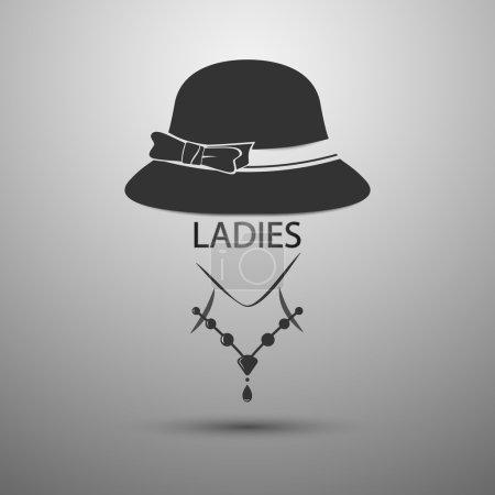 Illustration pour Vector background Mesdames chapeau vintage logo et texte de dames - image libre de droit