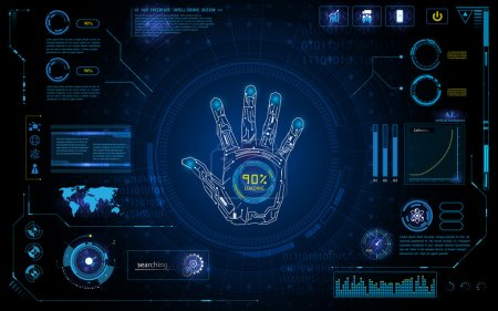 Illustration for Futuristic hand scan identify with hud element interface screen monitor design background template - Royalty Free Image