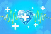 Health care background with heart with cross