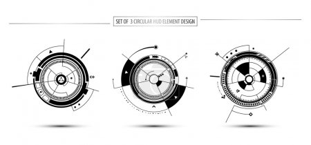 Circular digital technology hud elements
