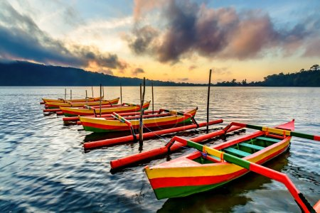 Traditional Indonesia outrigger canoes
