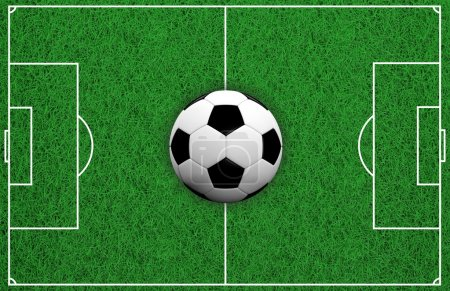 3d rendering soccer ball on soccer field