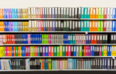 blurred binders in Office Supply Store