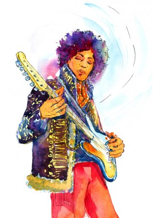 Watercolor Illustration Jimi Hendrix with