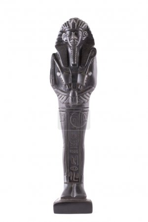 Statuette of the Egyptian pharaon made of stone on...