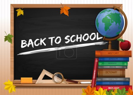 Blackboard. Back to school. Chalkboard with lettering, books and