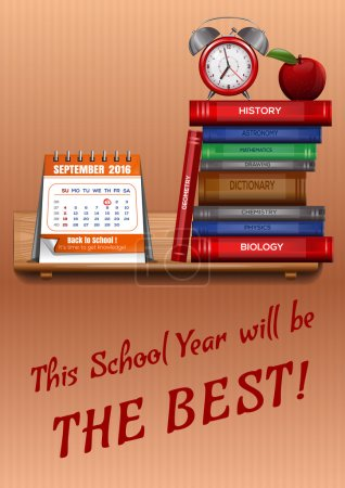 Poster for Knowledge Day. New School Year. Greeting card