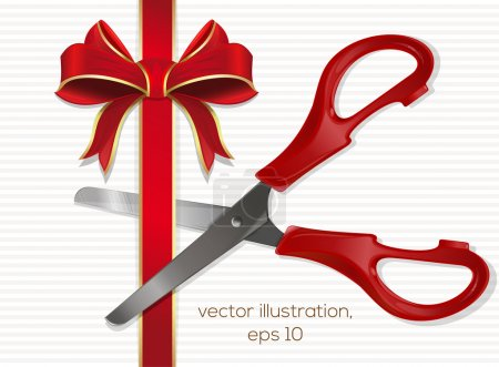 Scissors with plastic red handles cut the red ribbon with a bow