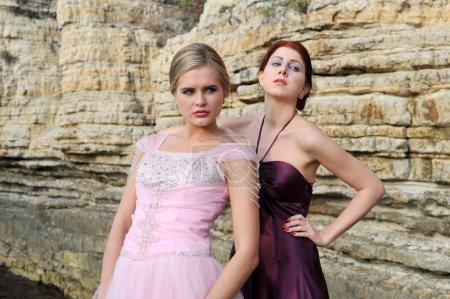 beautiful wedding models posing on the nature