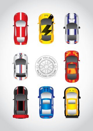 Illustration for Racing cars from top view - Royalty Free Image