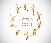 Golden icon of various sports