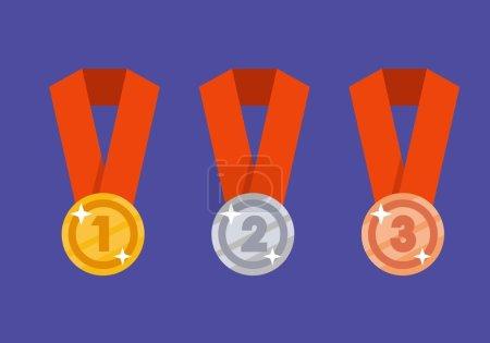 Gold medal. Silver medal. Bronze medal. Gold medal illustration flat. Medal set. Vector set.