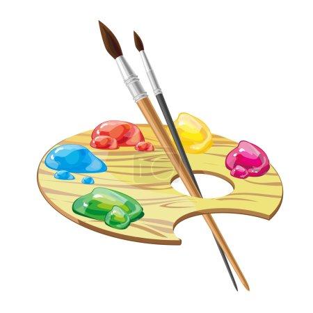 Illustration pour Palette d'art en bois avec pinceaux et peintures isolés sur fond blanc illustration vectorielle. Peintures huileuses colorées, attribut artiste - image libre de droit