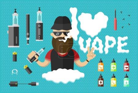 flat illustration of man with vape and vape icons