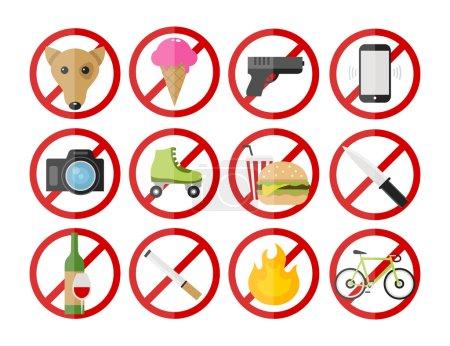 """Illustration pour Icônes vectorielles """"signes prohibitifs"""" réglées : pas de tabagisme, pas de chiens, pas de feu, pas de caméras, pas de crème glacée, pas de téléphones cellulaires, pas de bicyclettes, pas d'armes, pas d'alcool. pas de nourriture, pas de rouleaux, pas de couteau - image libre de droit"""