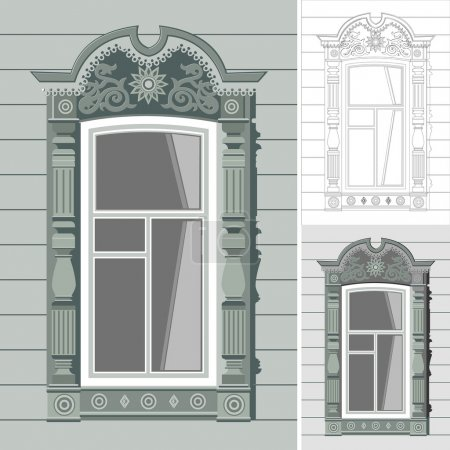 old window russian vector